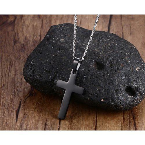 Кулон крест черный