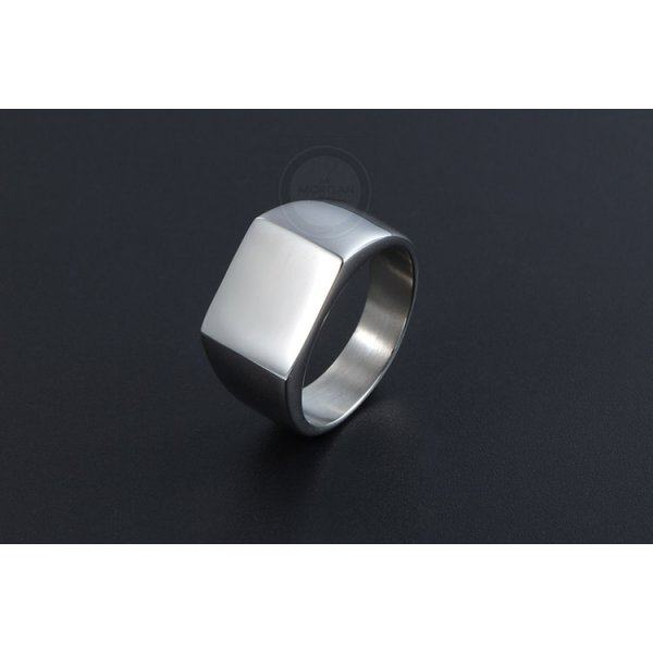 Печатка в минимализме матовая из стали,стильная и  лаконичная модель