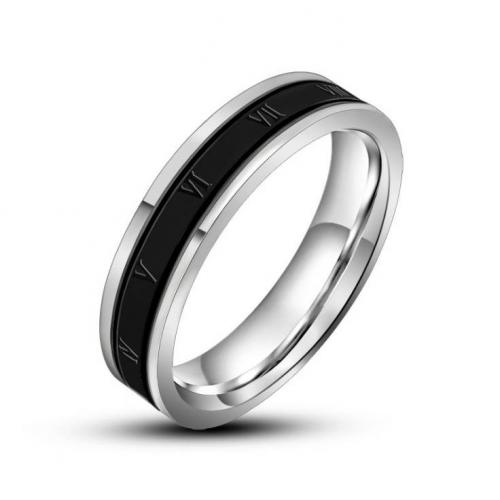 Тонкое кольцо из стали с римскими цифрами R8058