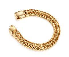 Браслет двойного панцирного плетения золотистый SB8233