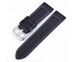 Ремешок из кожи черный со светлой прошивкой ST241