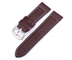 Ремешок из кожи коричневый со светлой прошивкой ST242