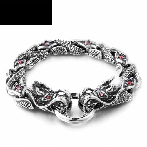 Браслет стальной с драконами и красным цирконом SB1684