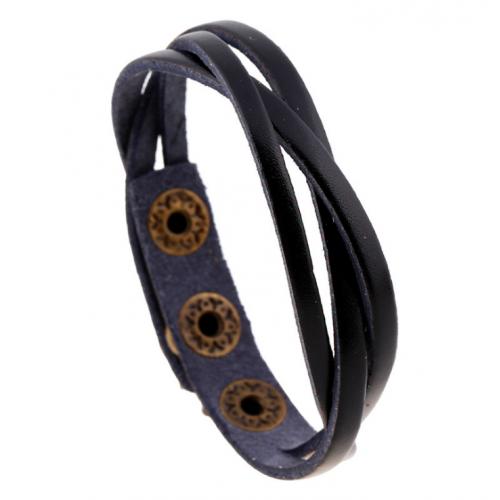 Черный Вилсон браслет плетеный из кожи QB124