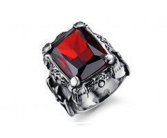 Массивный мужской перстень из стали с красным камнем  R2735