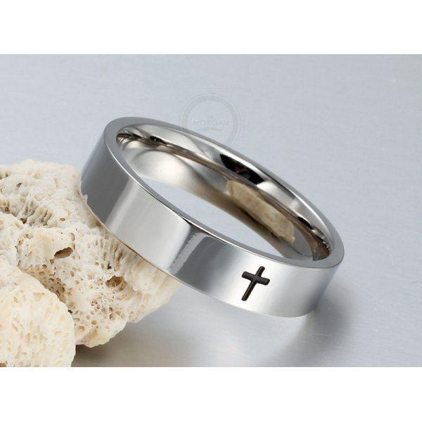 Тонкое кольцо с крестом из стали R145