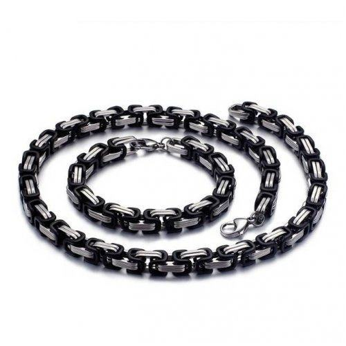 Цепь черно-серебристая C055