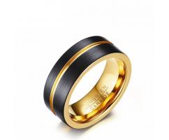 Кольцо из карбида вольфрама черно-золотое RW1737