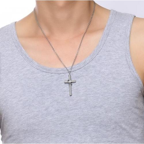 Крест маленький из стали с кольцом K228