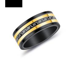 Кольцо черно-золотое с узором R111
