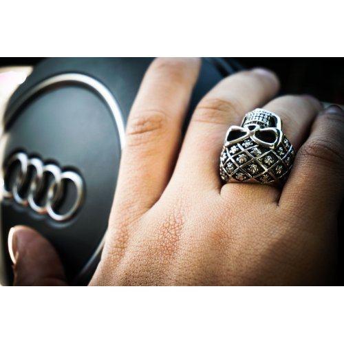 Мужской перстень с черепом SPIKES , брутальный, яркий перстень