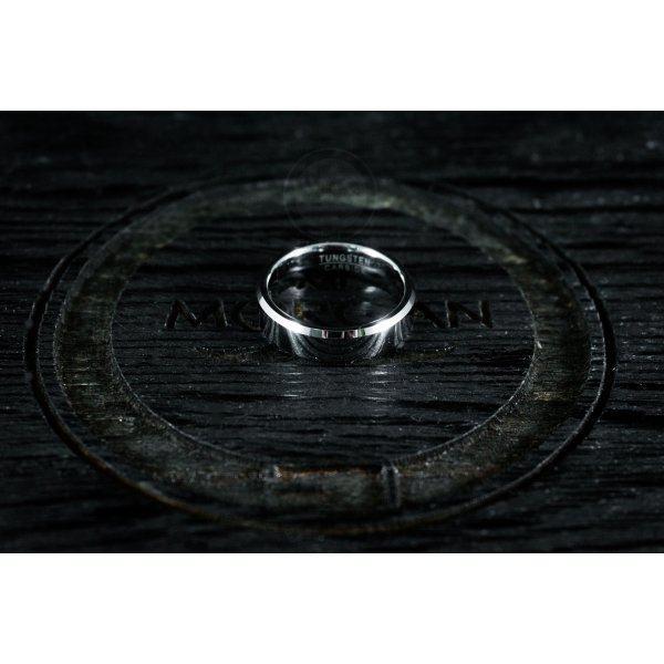 Кольцо из вольфрама тонкое серебряного цвета