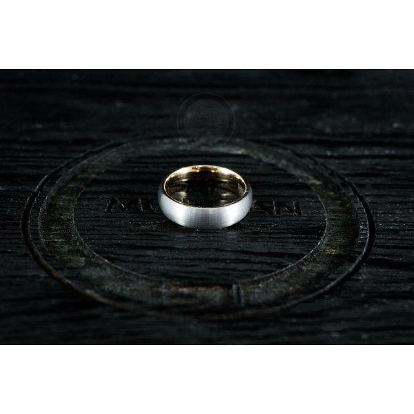 Кольцо из вольфрама серо-золотое тонкое