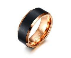 Кольцо из вольфрама черно-золотое RW014