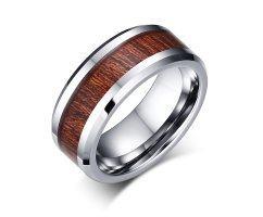 Кольцо из вольфрама с инкрустацией дерева RW015