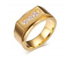 Перстень с белыми цирконами золотистый R132