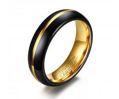 Кольцо из карбида вольфрама черно-золотое тонкое RW013