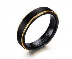 Кольцо из вольфрама черно-золотое тонкое RW012