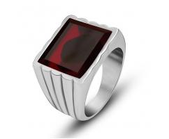 Мужской перстень из стали с красным цирконом  R4523