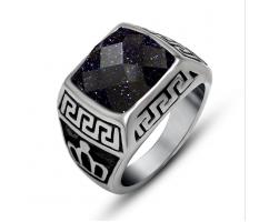 Мужской перстень синий классический с авантюрином R4602