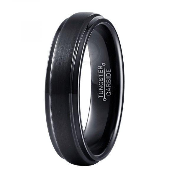 Кольцо черное из карбида черное тонкое