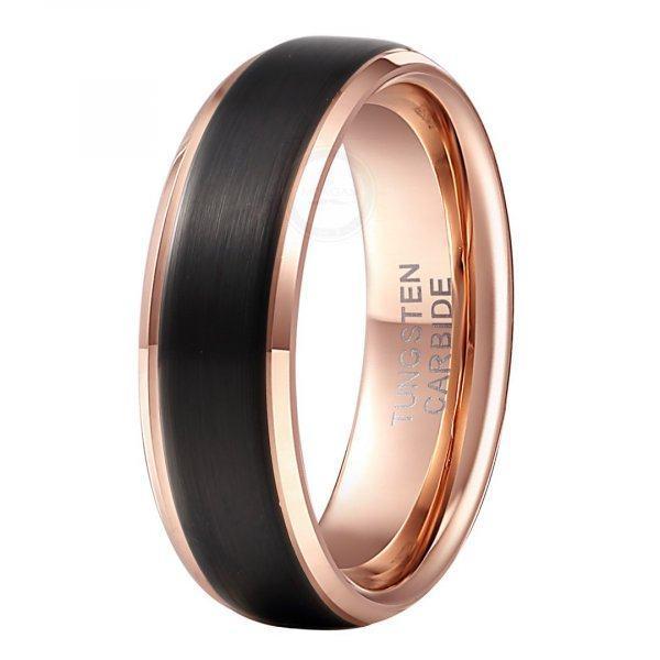 Кольцо из вольфрама черно-золотое тонкое RW025