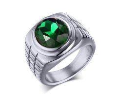 Перстень с зеленым камнем R127