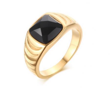 Перстень с агатом золотистый R129