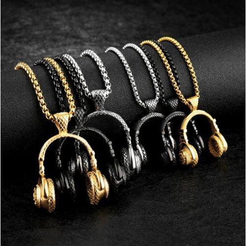 Кулон наушники из стали черные K007