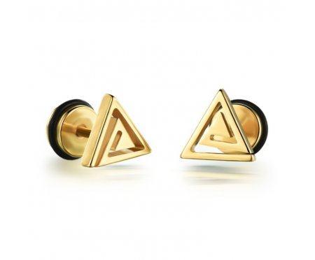 Мужские серьги-треугольники закрученные SE1686