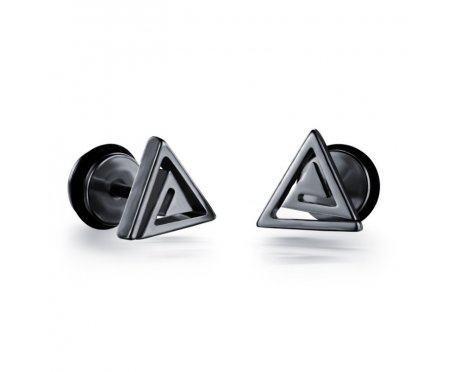 Мужские серьги-треугольники закрученные SE1685