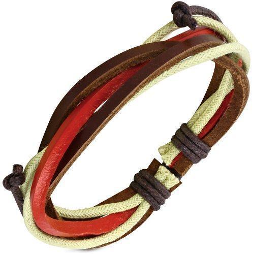 Браслет плетеный из кожи с красной вставкой
