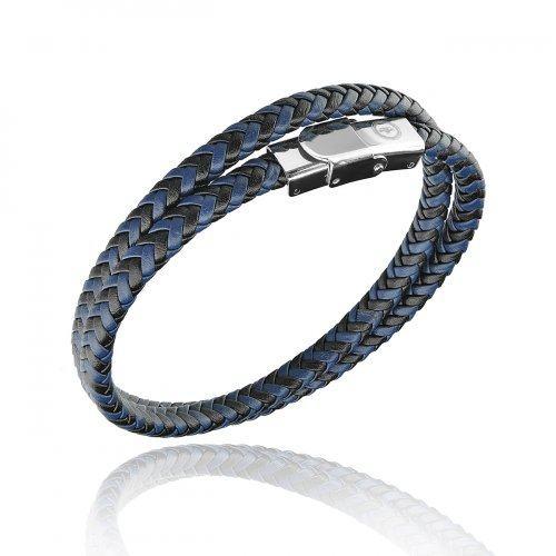 Браслет кожаный синий QB2703