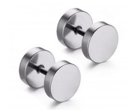 Серебристые мужские серьги из медицинской стали 10 мм SE1763