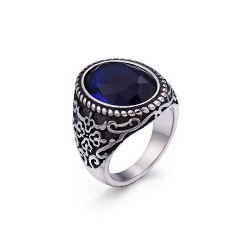 Массивный перстень с синим цирконом R186