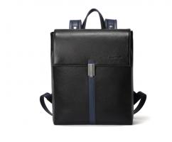 Рюкзак кожаный черно-синий SM1092