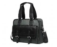Дорожная сумка из текстиля черно-зеленая SM384