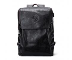 Рюкзак черно-коричневый кожаный SM446