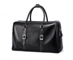 Дорожная сумка кожаная черная SM9174