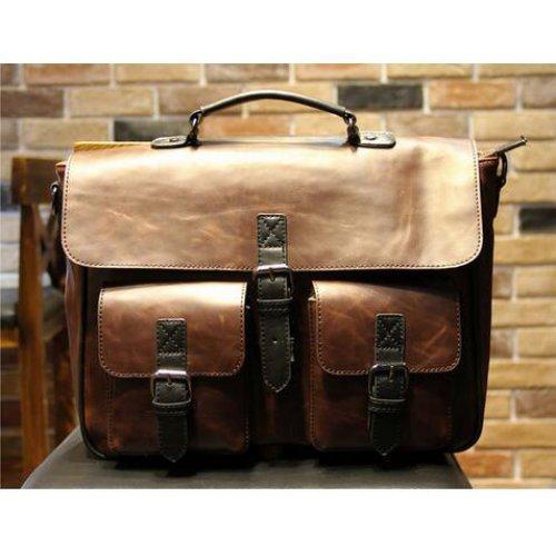 Портфель Mr. MORGAN с боковыми карманами темно-коричневый