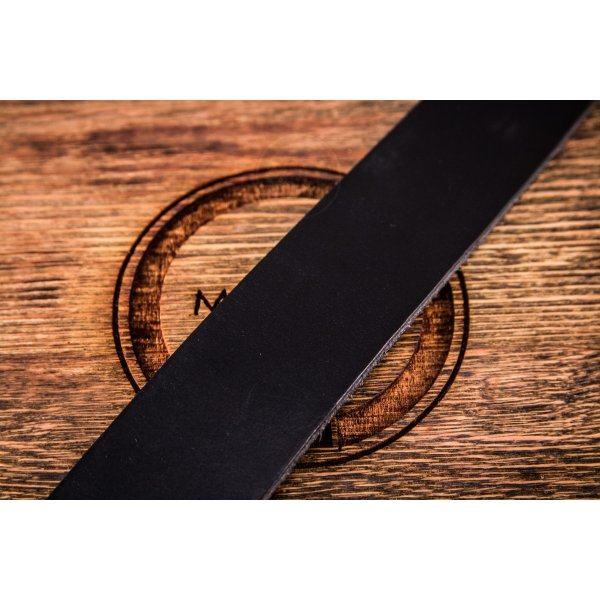 Мужской кожаный ремень для джинс черный