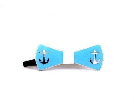 Бабочка деревянная с якорями синяя B10
