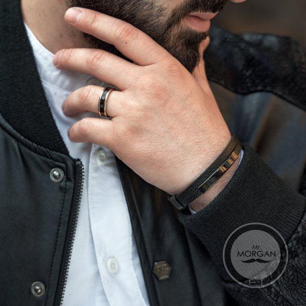 Кольцо вращающееся черно-золотое R177