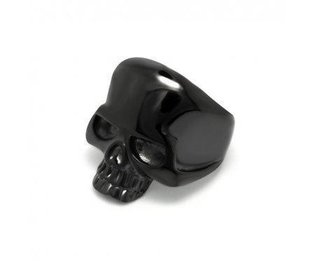 Мужской перстень с черным черепом R4343