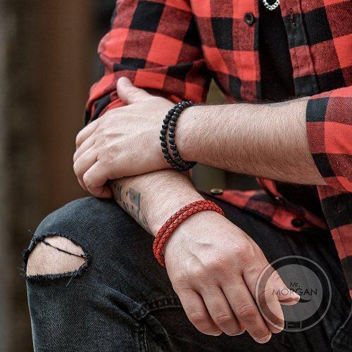 Браслет красный кожаный QB260