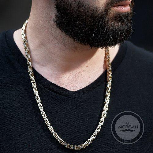 Цепь бело-золотая византийского плетения