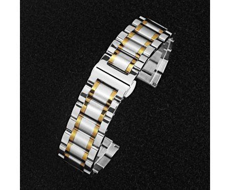 Браслет бело-золотой на клипсе ST287