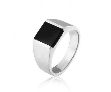 Перстень с черным агатом R287