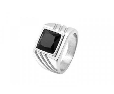 Перстень с черным агатом R288
