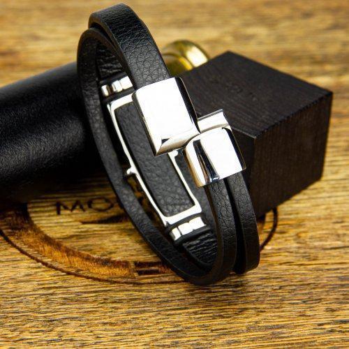 Браслет кожаный с якорем и штурвалом YB333